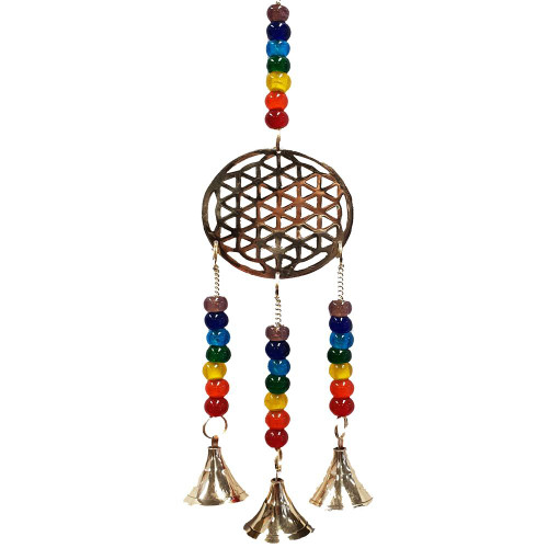Flower of Life Chakra Brass Bell Wind Chime 33cm