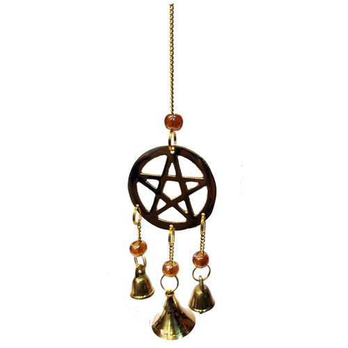 Wind Chime Brass Pentagram 22.5cm