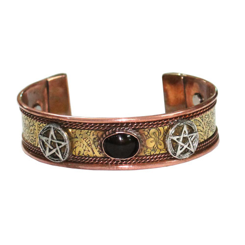 Pentagram Black Stone Copper and Brass Cuff Bracelet