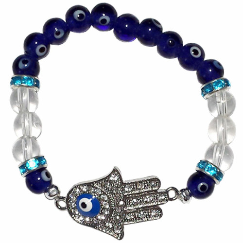 Evil Eye Hamsa Crystal Stretch Bracelet Small 18cm