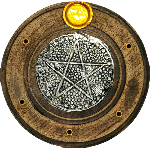 Pentacle Flat Round Plate Incense & Cone Holder