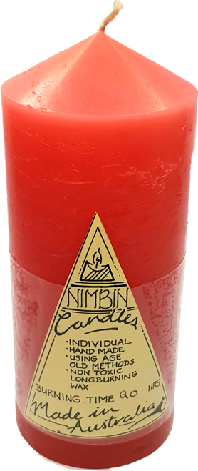 13cm Salmon Pink Hand Made Church Pillar Candle - Non Toxic