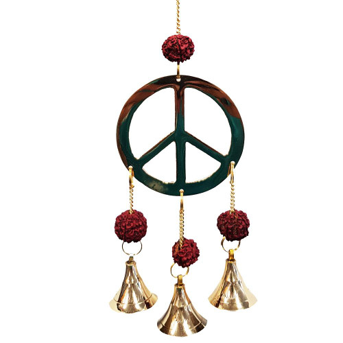 Brass Peace Wind Chime With Rudraksha Beads