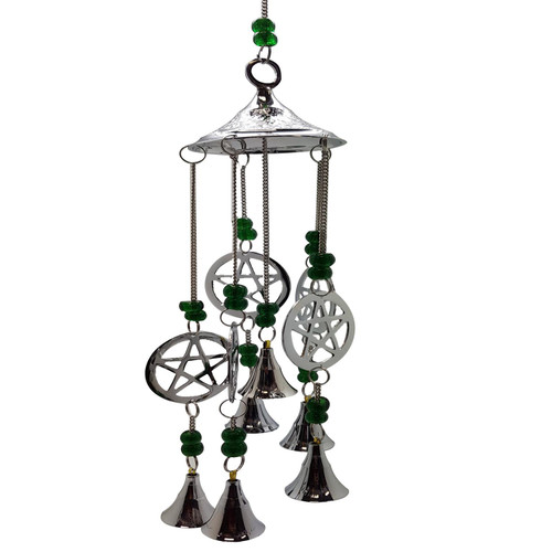 Chrome Plated Wind Chime Pentacle