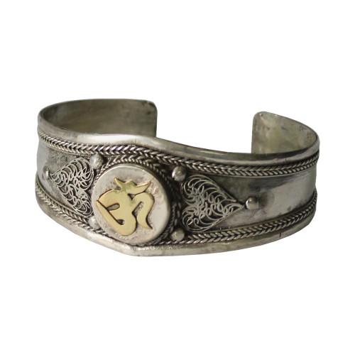 Om Brass White Metal Bracelet