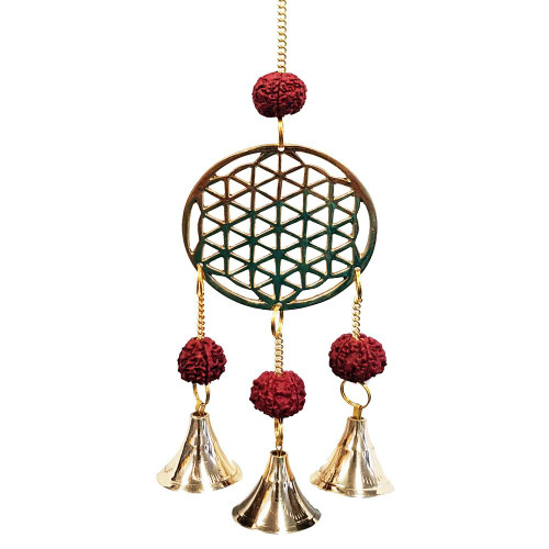 Brass Flower of Life Wind Chime With Rudraksha Beads
