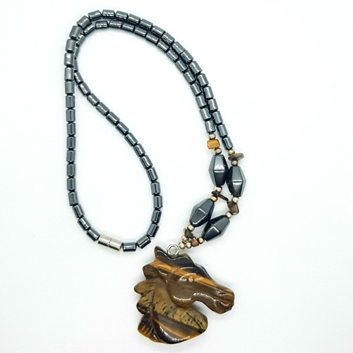 Hematite and Tigers Eye Carved Horse Necklace 48cm