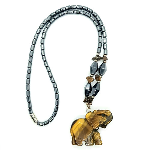 Hematite and Tigers Eye Carved Elephant Necklace 48cm