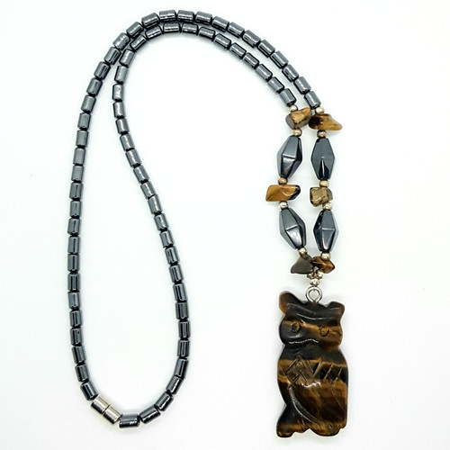 Hematite and Tigers Eye Carved Owl Necklace 48cm
