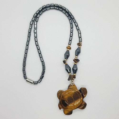 Hematite and Tigers Eye Carved Turtle Necklace 48cm
