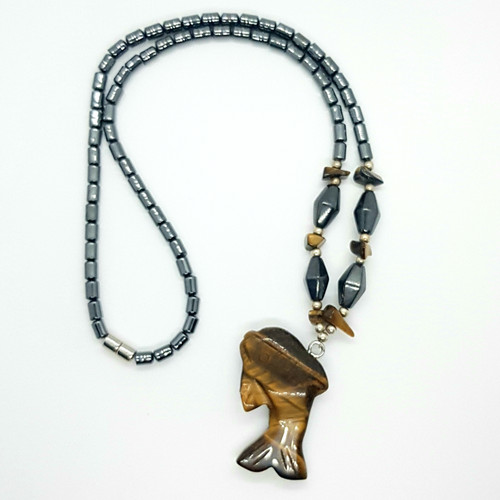 Hematite and Tigers Eye Carved Dolphin Short Nose Necklace 48cm