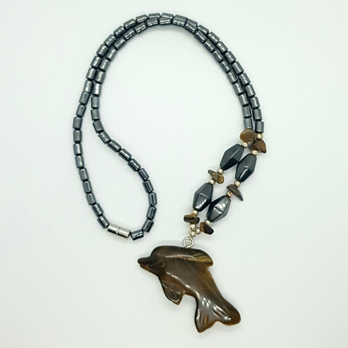 Hematite and Tigers Eye Carved Dolphin Necklace 48cm