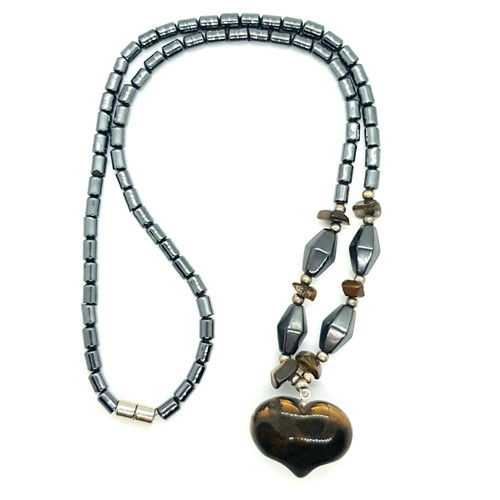 Hematite and Tigers Eye Carved Heart Necklace 48cm