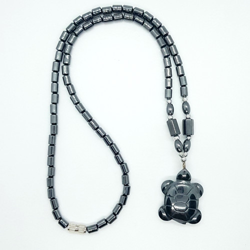 Hematite Carved Turtle Necklace 48cm