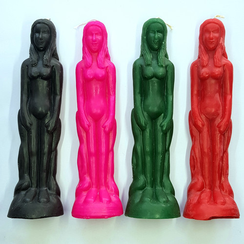 Female Figure Candle - Handmade Beeswax - 20cm - Front