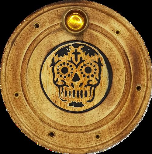Sugar Skull Round Plate Incense & Cone Holder