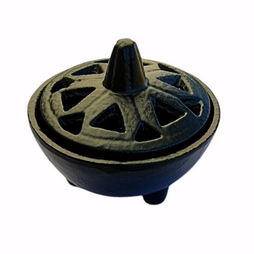 Cast Iron Cauldron Black / Incense Burner Open Cutwork Lid Small 8cm