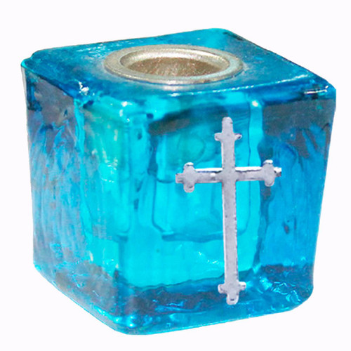 Chime Candle Holder Glass Turquoise Cross 3cm x 3cm