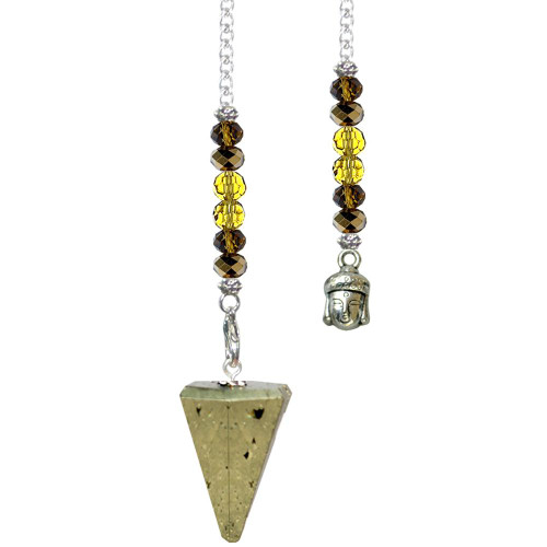Pyrite Pendulum 6 Sided Faceted with Buddha