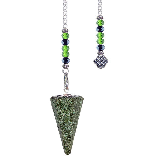 Pendulum Epidote 6 Sided Faceted with Celtic Knot Charm