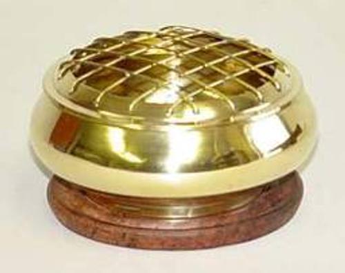 Incense Burner Charcoal Plain Brass with Wooden Base 9cm