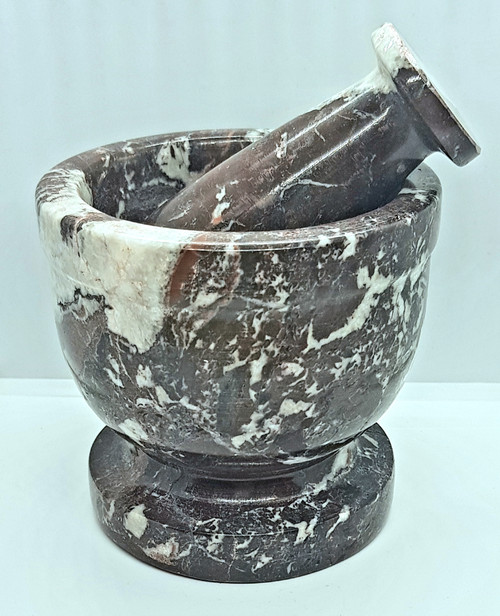 Mortar & Pestle Zebra Marble Red 10cm x 10cm