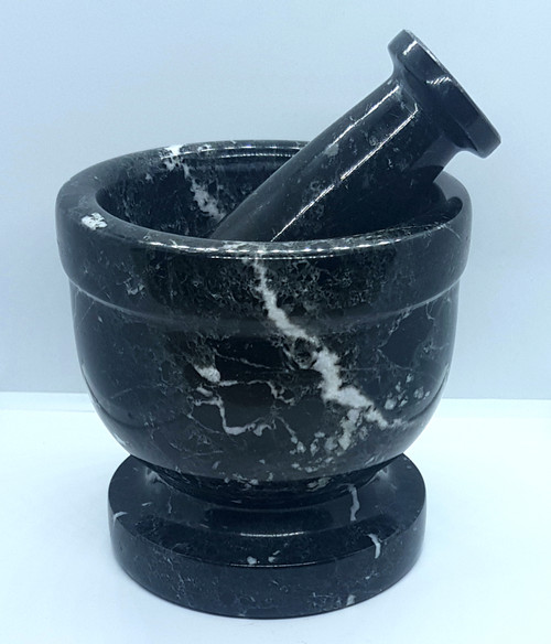 Mortar & Pestle Zebra Marble Black 10cm x 10cm