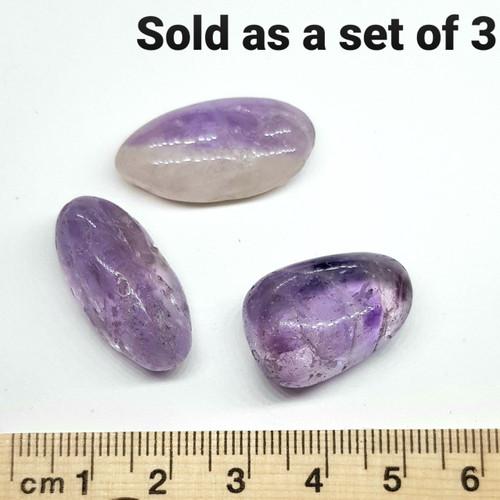 Amethyst Tumbled Stone B Grade 1-2cm - Set of 3
