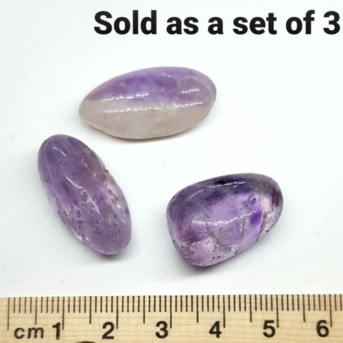 Amethyst Tumbled Stone B Grade 1-2cm - Set of 3
