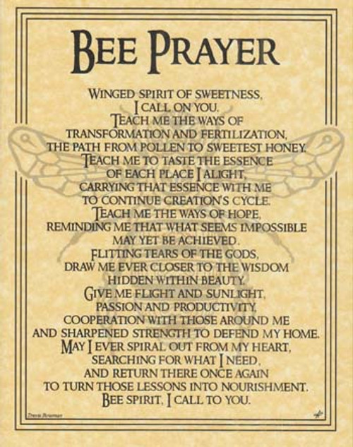 Bee Prayer Poster on Parchment A4