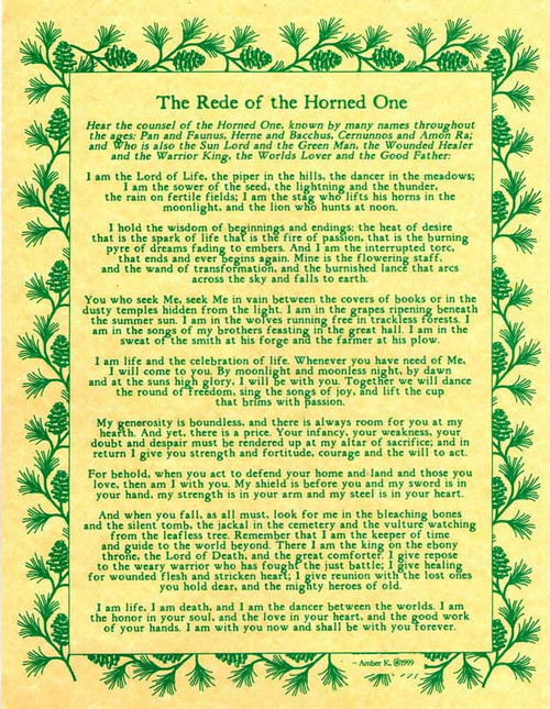 The Rede of the Horned One Poster on Parchment A4