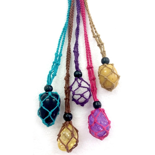 Beaded Macrame Tumbled Stone Holder Necklace