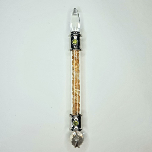 Glass Pipe Wand with Clear Quartz and Citrine 15cm