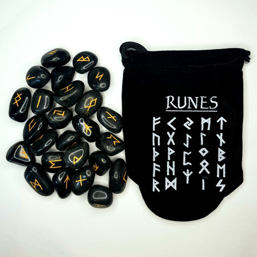 Black Agate Gemstone Rune Set