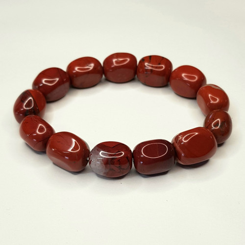 Red Jasper Nugget Stretch Bracelet Tumbled Stones