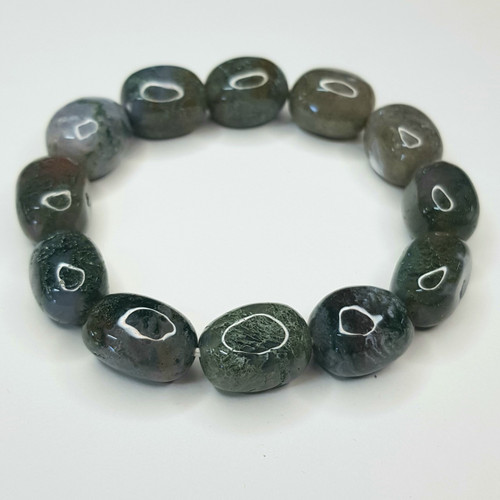 Moss Agate Nugget Stretch Bracelet Tumbled Stones