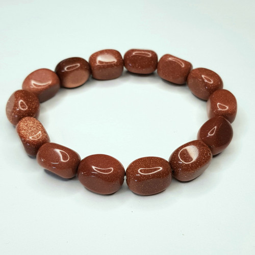 Goldstone Nugget Stretch Bracelet Tumbled Stones