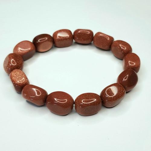 Goldstone Nugget Stretch Bracelet Tumbled Stones