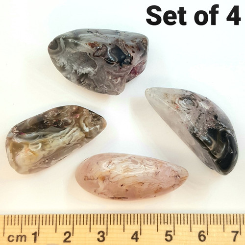 Agate Occos Pink and Grey Tumbled Stone (Set of 4)