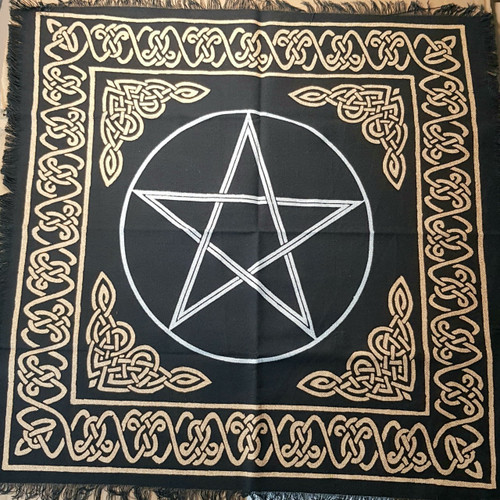 "60cm Gold Bordered Pentagram Altar or Tarot Cloth (24"")"