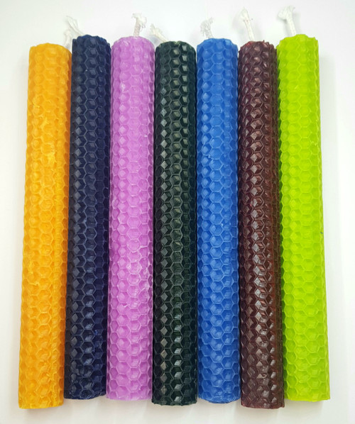 Handrolled Beeswax Candle Assorted Colours 20cm