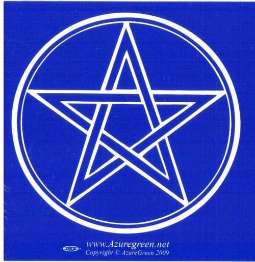 Blue Pentagram Bumper Sticker 7cm x 7cm