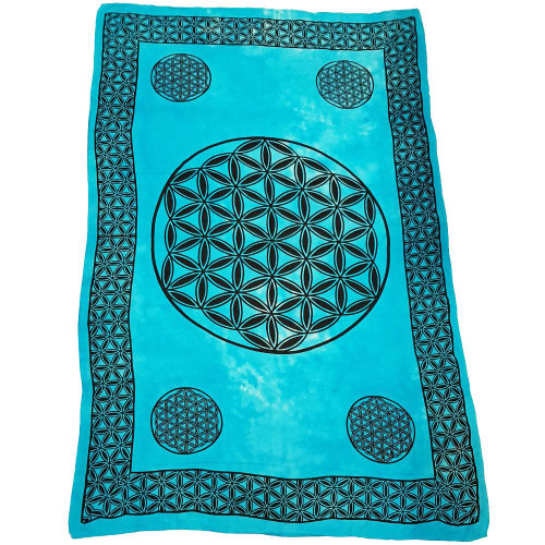 Flower of Life Turquoise Handloomed Cotton Tapestry 175cm x 269cm