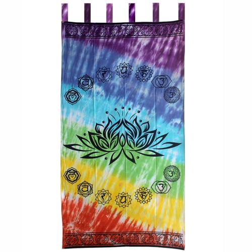 "Curtain (1) Chakra Lotus Tie Dyed 44"" x 88"" 100% Cotton"