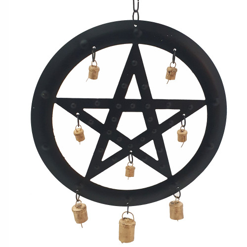 Black Metal Pentagram Wind Chime 24cm