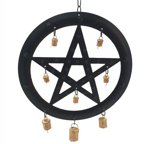 Black Metal Pentagram Wind Chime 24cm