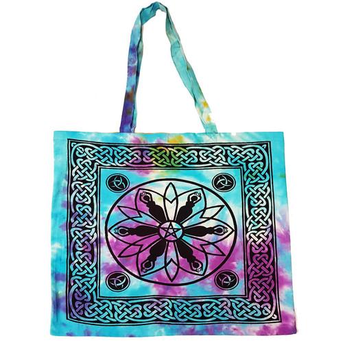 Goddess Mandala Pentagram Tie Dyed Cotton Tote Bag