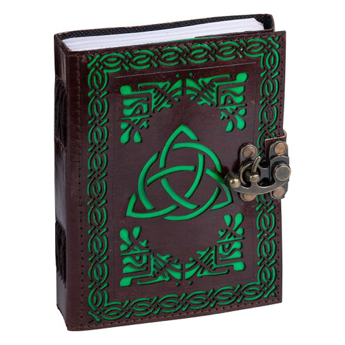 Leather Journal Triquetra with Clasp Lock Handmade Parchment - 120 Pages - 13cm x 17.5cm