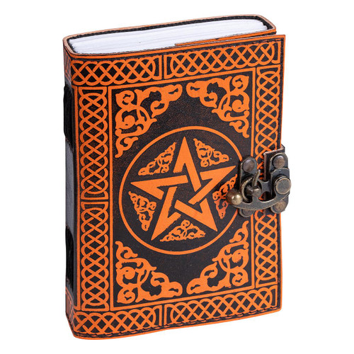 Leather Journal Orange Pentagram with Clasp Lock Handmade Parchment - 120 Pages - 13cm x 17.5cm