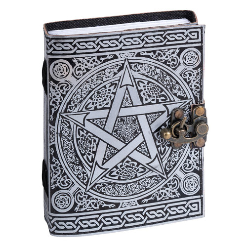 Leather Journal Silver Pentagram with Clasp Lock Handmade Parchment - 120 Pages - 13cm x 17.5cm